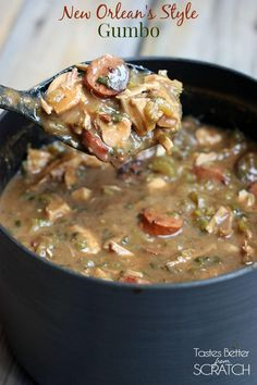 Authentic New Orleans Style Chicken and Sausage Gumbo recipe from a roux