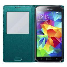 Shop4 - Samsung Galaxy S5 Neo Hoesje - Window View Case Sparkle Groen | Shop4Hoesjes