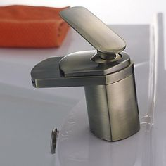 Antique Waterfall Bathroom Faucet - Brass Finish - FaucetSuperDeal.com