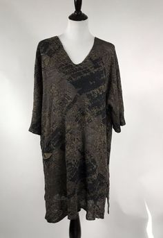 Crea Concept Brown Black Alpaca Wool Knit Tunic Oversized Sweater V-Neck Size 38 #CreaConcept #Tunic #Alpaca #Knit