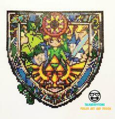 Legend of Zelda Stained Glass Link Perler Shield by TalkNerdytoMePerler on Etsy