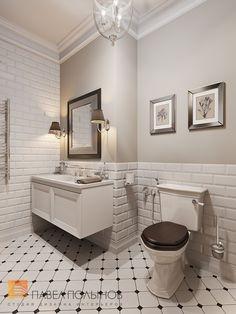 Дизайн ванной комнаты в стиле американской неоклассики, ЖК Парадный Квартал