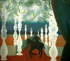 René Magritte - réalise sa première peinture surréaliste, Le Jockey perdu, et tient sa première exposition à Bruxelles en 1927.
