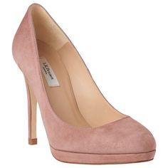 a91d0e4239 L.K. Bennett Sledge Platform Court Shoes, Dark Pink Suede at John Lewis &  Partners