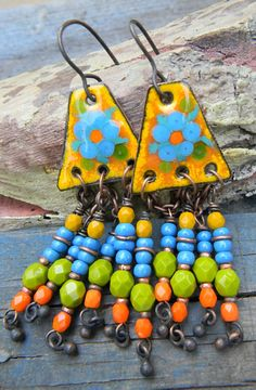 Enameled Copper Earrings Yellow Blue Orange Green by ChrysalisToo