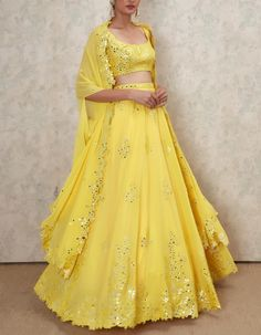 Shop Latest Mirror Work Lehengas From These Designers - With Prices! - Looking for Latest Mirror Work Lehengas to wear to your pre-wedding function? Check out 5 designers who have mirror work lehenga collection with prices Indian Lehenga, Lehenga Choli, Sharara, Anarkali, Indian Wedding Outfits, Indian Outfits, Anita Dongre, Estilo India, Mirror Work Lehenga