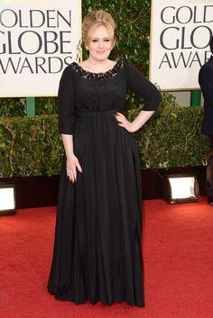 Globos de Oro 2013: Adele hace gala de británica y lleva un vestido de Burberry para su primera aparición tras ser mamá.