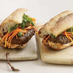 Vietnamese-Style B�nh M� Burgers -- The first time we made these, I followed the recipe exactly. We liked them but didn't like them, so we took out the curry (we made regular patties) and used regular buns instead of a baguette. Will definitely remake this way!