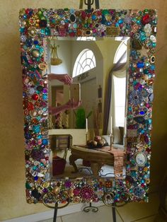 jeweled Mirror by RexannasCreations on Etsy