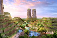 Shenzhen Jungle Plaza, a concept for a self-sustaining development comprising hotel, residential and retail facilities and parklands.