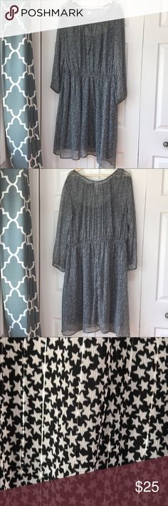 0c715f6deeeec Old Navy Sheer Star Dress Women's Size 2X Old Navy sheer Dress Black with  white stars and silver vertical threading throughout. Has small tie at  neckline.