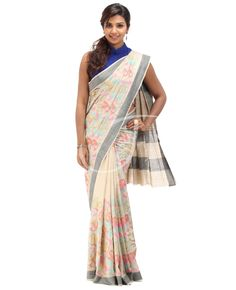 Tussar Jute Fabric. Twin color, off white n ivory color body with multicolor embossed thread work with border. Black color border. Tussar- jute black color pallu without border. Blouse is Black n off white color lines with saree border.
