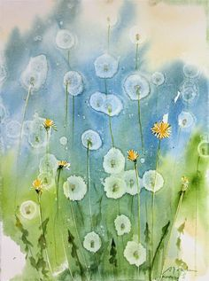 How To: Dandelion watercolor painting using Alcohol droplets | Today's Painting and Video