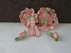 Vintage Antique Silk Ribbonwork Lingerie Pins Rosettes Flapper Girl Boudoir