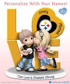 Just like your beloved Pittsburgh Steelers, you and your sweetie have what it takes to go the distance! Honor your shared love with this charming Precious Moments figurine personalized with the names of you and your sweetheart! Steelers Images, Dallas Cowboys Images, Pittsburgh Steelers Wallpaper, Steelers Football, Steelers Stuff, Precious Moments Figurines, Sport Craft, Monster High Custom, Crochet Humor
