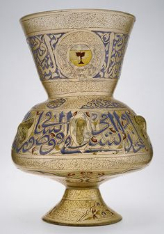 Mosque lamp of Amir Qawsun, Mamluk period (1250–1517), ca. 1329–35, Egypt, Glass, colorless with brown tinge; blown, blown applied foot, enameled and gilded