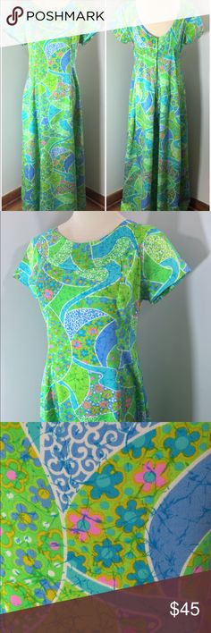 """1960's Batik Psychedelic Hawaiian Maxi Dress A women's vintage 1960's bright green, pink and blue multi-colored swirl batik print Hawaiian dress. This dress features a zipper back. Truly one-of-a-kind and a larger size at that.   ~Condition~  Great condition. Looks to have never been worn. No pick, stains or smells. This dress comes from a smoke free home.   ~Measurements~ Bust - 36"""" Waist - 35"""" Hips - Free Length - Approximately 54"""" Modern day size - 10/12 Material/Tag - 100% acrylic (Feels…"""