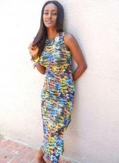 Multi Color Sleeveless Bodycon Maxi Dress,  Dress, multi color  maxi dress  body con, Chic  #multicolor #maxidress #bodycon #bodycondress #sideslit #sleeveless #longerlength