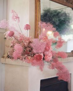 "I've been getting a lot of questions about what this ""cotton candy"" looking material is. It's dried and spray painted smoke bush that I had… Deco Floral, Floral Design, Spray Paint Flowers, Floral Wedding, Wedding Flowers, Bush Wedding, Tree Wedding, Flower Installation, Bloom"