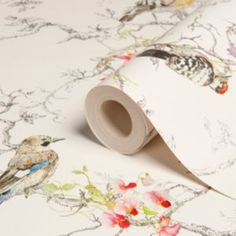 (Ornithology Birds Metallic Effect Wallpaper) With the white background this wallpaper appears subtle and elegant. I love birds and wildlife also living in the country it would be a perfect match. Metallic Wallpaper, Bird Wallpaper, Painting Wallpaper, Fabric Wallpaper, Botanical Wallpaper, Bedroom Wallpaper Cream, Blue Bird, Yellow Birds, Grey Yellow