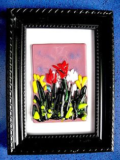 Fused Glass Picture - Field of Smiling Flowers on Etsy, $29.00