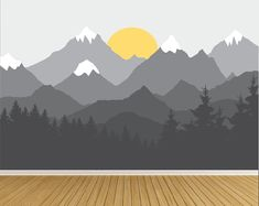 Wall Decals Mountain Wall Decal Wall Mural Sticker Mountains Forest Decals Wandtattoos Berg W. Baby Room Decals, Nursery Wall Stickers, Bedroom Murals, Wall Murals, Wall Art, Casa Kids, Mountain Mural, Forest Mountain, Forest Mural