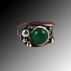 Copper ring - Ajustable ring- Coppering with silver- Copper ring with green agat- Green agat ring by CatzJewelry on Etsy