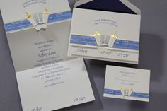 This tri-fold invitation has the Torah outlined in gold foil. The names of the books are in English and Hebrew in the sapphire band trimmed in gold foil. You may choose your blessing on the top and your name in English and Hebrew can be set on the bottom.
