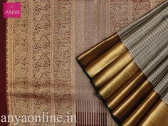 Anya Boutique provide best collection of Kanchipuram silk sarees for bridal in Coimbatore. Grey pure kanchipuram silk checked saree with brown pallu.