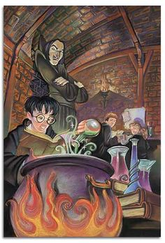 Harry Potter - MAKING POTIONS by Mark Braught. --Ive had this poster on my bedroom wall for like 10 years! Fanart Harry Potter, Harry Potter Poster, Harry Potter Potions, James Potter, Harry Potter Fan Art, Harry Potter World, Severus Rogue, Severus Snape, Fantastic Beasts