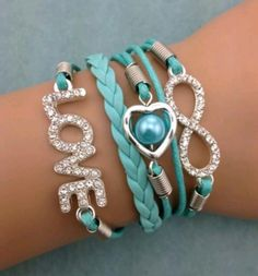 Fashion jewelry promotion store,Supply all kinds of cheap fashion jewelry Bracelet Teal Love Set bracelet - Cheap Fashion Jewelry, Fashion Jewelry Necklaces, Fashion Bracelets, Cheap Jewelry, Jewellery, Cute Bracelets, Handmade Bracelets, Diy Leather Bracelet, Bracelet Crafts
