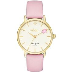 Kate Spade New York Metro Goldtone Stainless Steel Leather Strap Watch ($195) ❤ liked on Polyvore featuring jewelry, watches, light pink, logo watches, kate spade jewelry, stainless steel jewelry, water resistant watches and dial watches