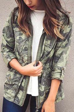 #cute #outfits Army Jacket // White Pullover // Skinny Jeans