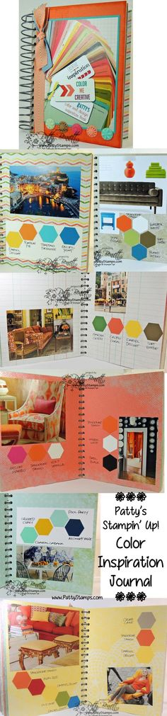 Color inspiration journal from old magazines, hexagon punch and Stampin' Up! This and That Journal