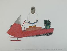 Kananginak Pootoogook, Untitled, Ink and coloured pencil on paper, cm x 66 cm. Collection of the Carleton University Art Gallery, Ottawa. Carleton University, Northwest Territories, Inuit Art, Everything And Nothing, Venice Biennale, Ottawa, Colored Pencils, Stencil, Wolf