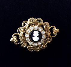 Vintage Coro Gold Filigree Black Cameo Brooch by JacobandCharlies