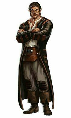 Male Half-Orc Investigator - Pathfinder PFRPG DND D&D d20 fantasy