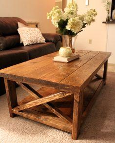 DIY Rustic Coffee Table  Designs: http://www.ana-white.com/2012/07/plans/rustic-x-coffee-table