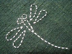 Sashiko - dragonfly Image for inspiration. Hand Embroidery Stitches, Silk Ribbon Embroidery, Hand Embroidery Designs, Embroidery Techniques, Embroidery Applique, Cross Stitch Embroidery, Embroidered Silk, Embroidery Supplies, Embroidery Scissors