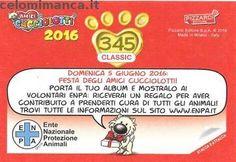 Amici Cucciolotti 2016: Retro Figurina n. 345 -