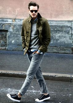 casual #Mens Fashion, Olive Field jacket, grey thermal and faded, distressed jeans | http://mens-fashion.lemoncoin.org