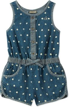 Calvin Klein Dot-Print Cotton Denim Romper, Little Girls - Blue sweet dot print delights on this cute lightweight cotton denim romper from Calvin Klein.Perfect for playing in the park, this cotton denim romper from Calvin Klein features an elastic Frocks For Girls, Little Girl Dresses, Baby Outfits, Kids Outfits, Baby Girl Romper, Baby Girls, Toddler Girls, Baby Dress Design, Girls Rompers