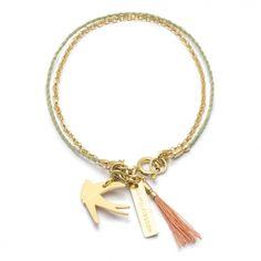 Bransoletka złocona Petite ❀ WIOSNA ❀ z łańcuszkiem i sznureczkiem