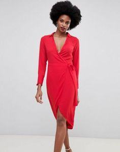 6c2ab6a0a5c8 Image 1 of Oasis wrap front midi dress with tie detail in red Oasis Dress,