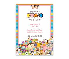 Tsum Tsum Birthday Digital Invitation by PersonalizedDesign