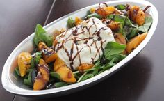 """""""Grilled Apricot, Arugula and Buratta Salad with Balsamic Glaze"""" by """"More Savory, Less Sweet"""" with Roland(R) Balsamic Glaze #rolandfoods"""