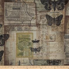 Designed by Tim Holtz, this cotton print fabric is perfect for quilting, apparel, crafts, and home decor items. Colors include green, brown, cream and black on beige.