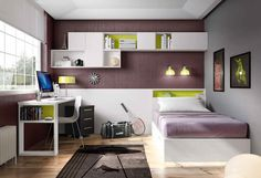 Jugendzimmer Ideen Für Kleine Räume, Weißer Schreibtisch, Komputer, Graue  Wand