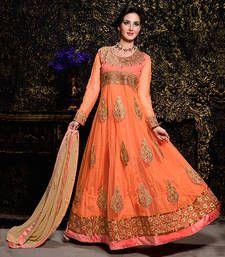Buy Orange embroidered Net semi stitched salwar with dupatta party-wear-salwar-kameez online