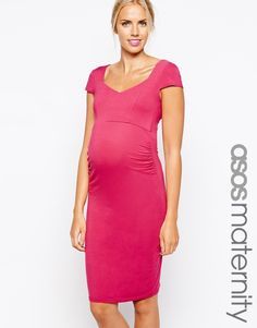 ASOS Maternity Bodycon Dress With Sweetheart Neck And Cap Sleeve